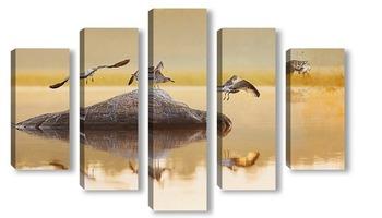 Модульная картина Восход на озере.