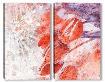 Модульная картина Тюльпаны в росе