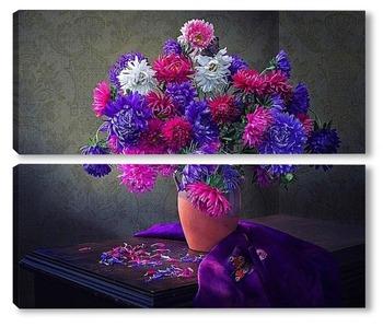 Модульная картина Любимые цветы августа