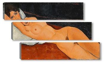 Модульная картина Обнаженная, лежащая на белой подушке, 1917