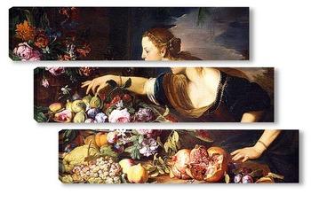 Модульная картина Женщина собирает цветы