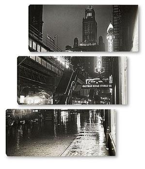 Модульная картина Улица Нью-Йорка ночью.