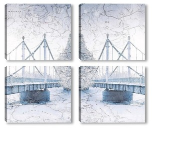 Модульная картина Мост зимой