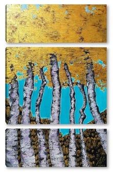 Модульная картина Золотые листья.