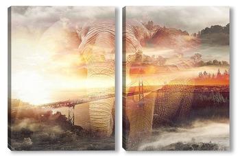 Модульная картина Рассвет над Сан-Франциско