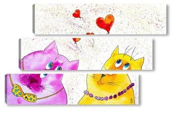 Модульная картина Влюбленные коты