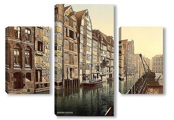 Модульная картина Канал,Гамбург, Германия. 1890-1900 гг