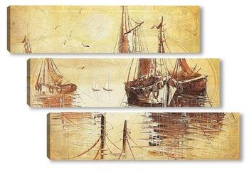Модульная картина Корабли в гавани
