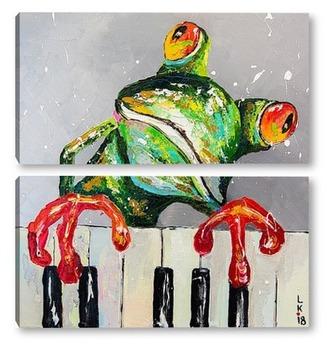 Модульная картина Лягушка пианист