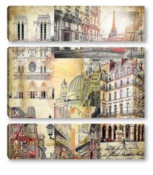 Модульная картина По улочкам Парижа