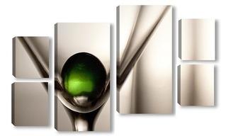 Модульная картина Зеленый шарик и бокал