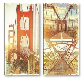 Модульная картина Мосты на рассвете