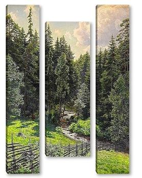 Модульная картина Солнечно лесной ручей
