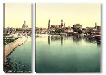 Модульная картина Старый город, Дрезден, Саксония, Германия 1890-1900 гг