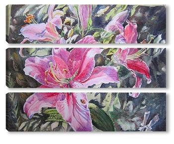 Модульная картина Солнечные розовые лилии
