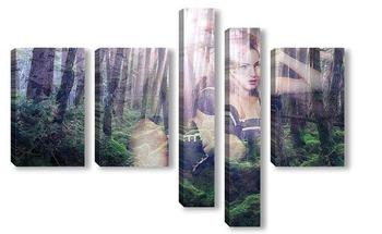 Модульная картина Девушка на фоне леса