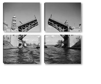 Модульная картина Судно проплывающее под мостом Монтлайк.