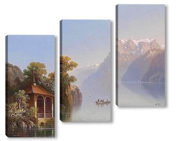 Модульная картина Часовня на берегу озера Люцерн
