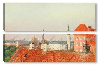 Модульная картина Вид на крыши Копенгагена из мастерской художника