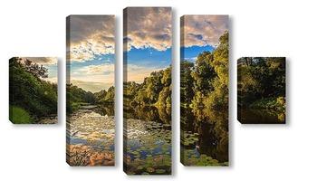 Модульная картина Красивый летний вид на реку при вечернем заходящем солнце