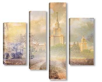 Модульная картина Москва гранж