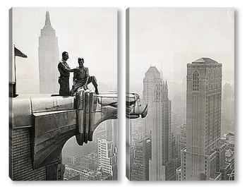 Модульная картина Перекур сверху горгульи, Крайслер Билдинг, 1940