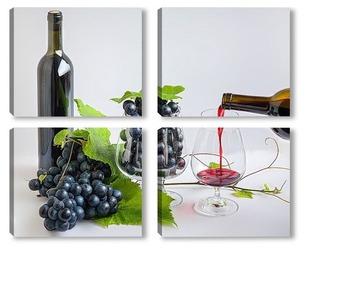 Модульная картина Вино наливается в бокал