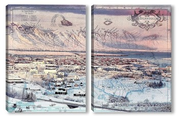Модульная картина Зима в Исландии