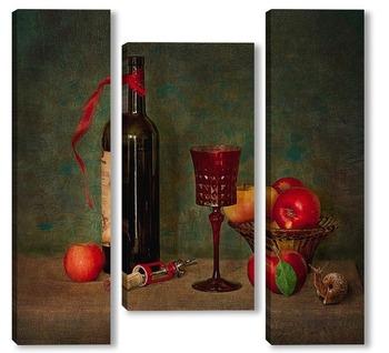 Модульная картина С вином и яблокоми