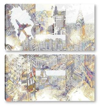 Модульная картина Архитектура мегаполиса