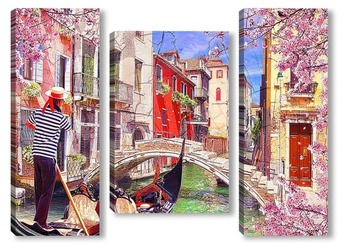 Модульная картина Красочные каналы Венеции