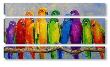 Модульная картина Стая попугаев