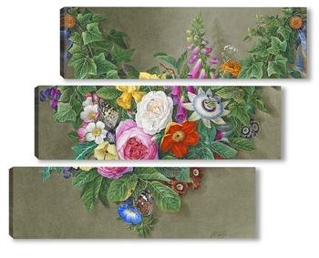 Модульная картина Гирлянды из цветов с бабочками