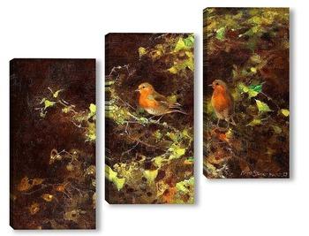 Модульная картина Красные птицы на ветвях