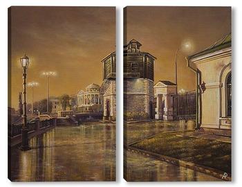 Модульная картина Вечерний Екатеринбург, вид на Водонапорную башню