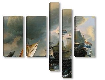 Модульная картина Голландские корабли в шторм близ Амстердама