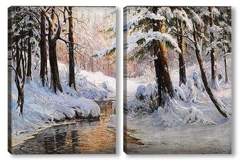 Модульная картина Снежный пейзаж леса