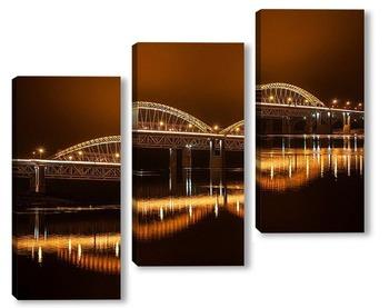 Модульная картина Современный мост через реку
