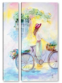 Модульная картина Девушка и велосипед
