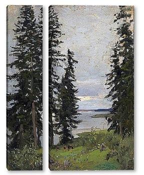 Модульная картина Лес у озера