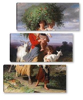 Модульная картина Мать возвращается с детьми домой