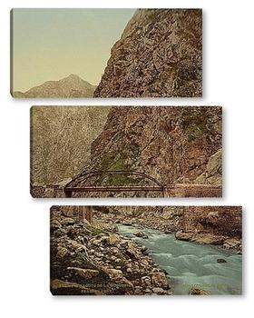 Модульная картина Дорога, первый мост, Грузия. 1890-1900 гг