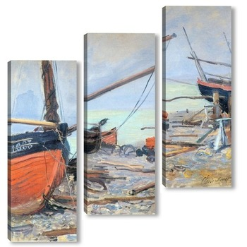 Модульная картина Лодки на пляже, 1885
