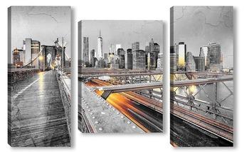 Модульная картина Нью-Йорк с Бруклинским мостом