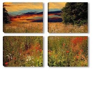 Модульная картина летний закат