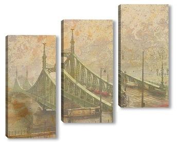 Модульная картина  Мост в тумане