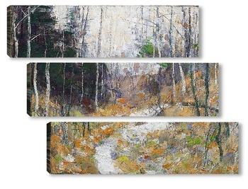Модульная картина Лесная дорога с березами и соснами, 1898