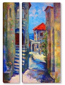 Модульная картина Старая улочка. Улцинь, Черногория