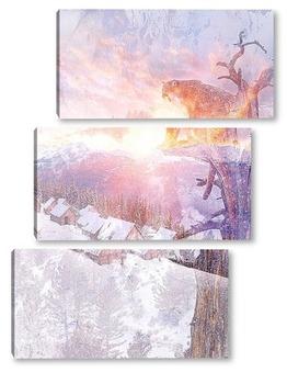 Модульная картина Снежная пума