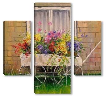 Модульная картина Старая телега с цветами